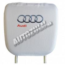 Poťah na hlavovú opierku-biela Audi 2ks