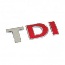 "3D nálepka ""TDI"" chromovo-červená"