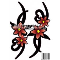Samolepka kvet červený 2ks